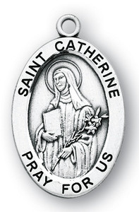 Sterling Silver Oval Shaped St. Catherine Medal