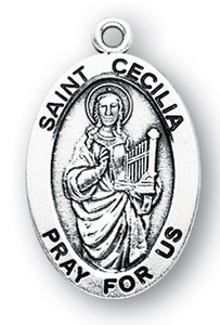 Sterling Silver Oval Shaped St. Cecelia Medal