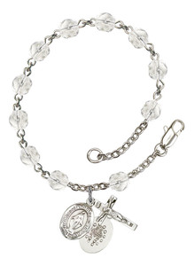 April Birthstone Bead Rosary Bracelet with Miraculous Charm, 7 1/2 Inch