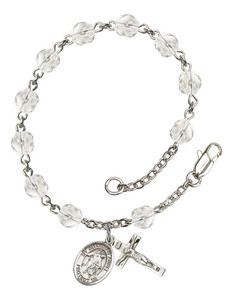 April Birthstone Bead Rosary Bracelet with Guardian Angel with ChildCharm, 7 1/2 Inch
