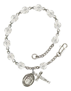 April Birthstone Bead Rosary Bracelet with Maria Stein Charm, 7 1/2 Inch