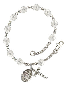 April Birthstone Bead Rosary Bracelet with Infant of Prague Charm, 7 1/2 Inch