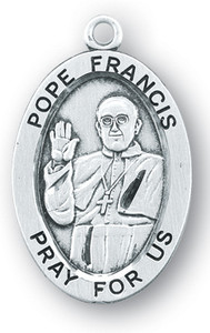 Sterling Silver Oval Shaped Pope Francis Medal