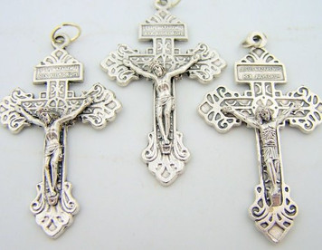 "Lot 3 Catholic Rosary Part Crucifix Silver Tone Cross 2"" Pardon Behold This Heart"