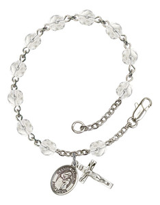 April Birthstone Bead Rosary Bracelet with Blessed Caroline Gerhardinger Charm, 7 1/2 Inch