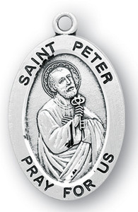 Sterling Silver Oval Shaped St. Peter Medal