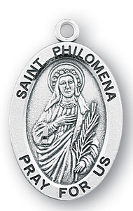 Sterling Silver Oval Shaped St. Philomena Medal