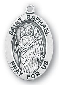 Sterling Silver Oval Shaped St. Raphael Medal