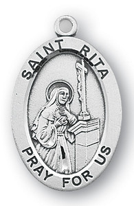 Sterling Silver Oval Shaped St. Rita Medal