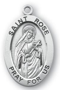 Sterling Silver Oval Shaped St. Rose Medal