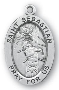 Sterling Silver Oval Shaped St. Sebastian Medal