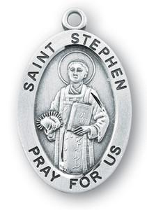 Sterling Silver Oval Shaped St. Stephen Medal