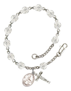 April Birthstone Bead Rosary Bracelet with Blessed Emilee Doultremont Charm, 7 1/2 Inch