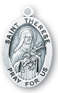 Sterling Silver Oval Shaped St. Therese Medal