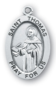 Sterling Silver Oval Shaped St. Thomas Medal