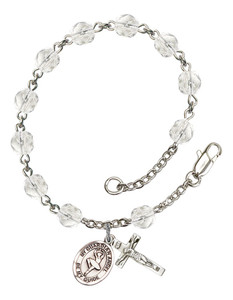 April Birthstone Bead Rosary Bracelet with Guardian Angel Dance Charm, 7 1/2 Inch