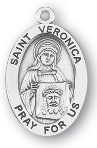 Sterling Silver Oval Shaped St. Veronica Medal