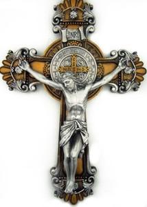 Saint Benedict Two Tone Wall Crucifix
