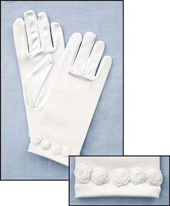 First Communion White Satin Gloves with Rosebud Trim