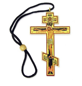 Authentic Russian Orthodox Cross Wood Crucifix Icon on Rope Cord Home Chapel Decoration