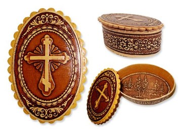 Russian Birch Box Three Barred Cross Wooden Box Rosary Keepsake Jewelry Hand Made Box