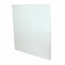 White painted carbon steel enclosure back panel
