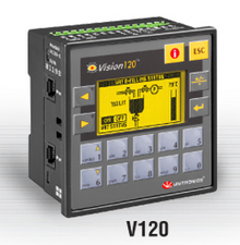 ** V120-22-RA22 ** - 24VDC, 12 pnp/npn digital inputs, 2 analog inputs, 2 temperature measurement inputs, high-speed counter/shaft encoder input, 8 relay outputs, 2 analog outputs, I/O Expansion Port and 2 RS232/RS485 ports