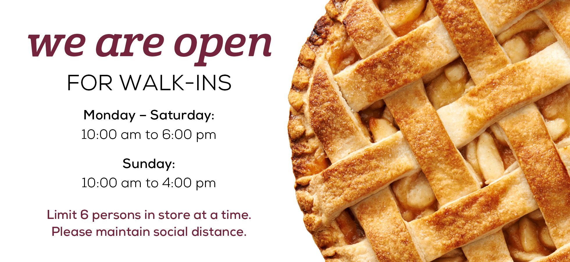 We Are Open for Walk-Ins. See our new hours.