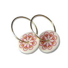 Pink & Yellow Flower Creole Earrings