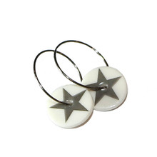 Grey Star Porcelain Creole Earrings