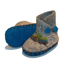 Hand Felted Toddler Slippers in Grey with a Tractor