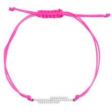 Silver Pendant Bracelet on Pink String