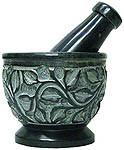 Mortar & Pestle, Soapstone: Black with Vines
