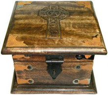 Wood Box: Celtic Cross with latch, 6x6 inches
