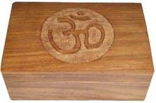 Wood Box: Om Symbol carved, 4x6 inch