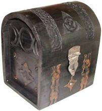 Wood Box: Black Pentagram Chest, 7.5 in tall