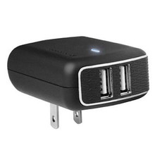 PUREGEAR 1A DUAL USB TRAVEL CHARGER - BLACK