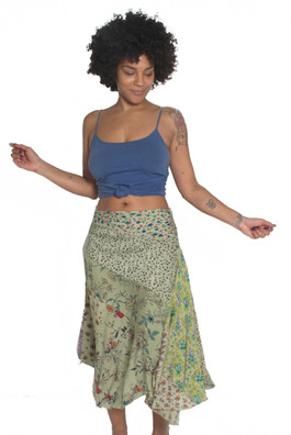 855 Rayon 3/4 length Patchwork Skirt