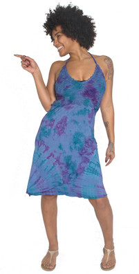 4501 Rayon Lycra Tie Dye Halter Dress