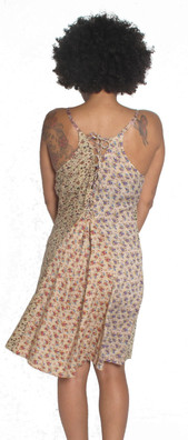 1804 Rayon Print Tie Back Dress