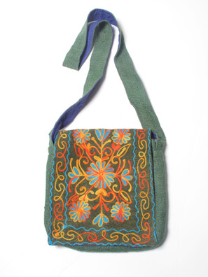 G910 Mixed Fabric Embroidered Flap Bag