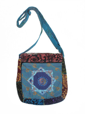 G793 Batik Applique Swirly Bag