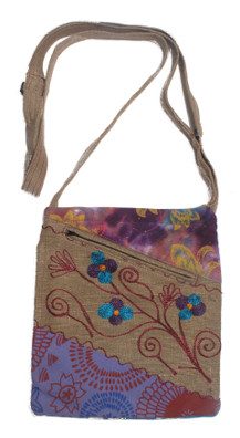 "G1422 Diagonal Panel Embroidered Handbag 8"" x 6"""