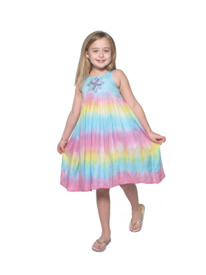 3341 Kid's Tie Dye Dress with Embroidery