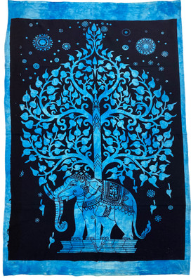 T4 Elephant Under Tree of Life Small Tapestry