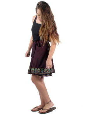 1570 Floral Trim Wrap Skirt