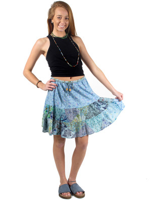 4401 Patchwork Rayon Mini Skirt