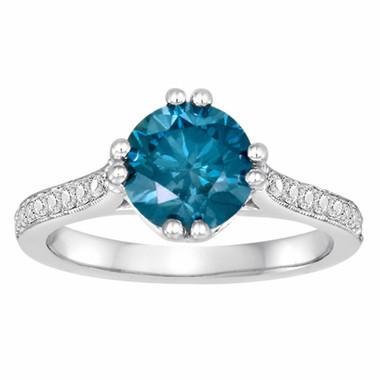 1.85 Carat Blue Diamonds Unique Engagement Ring 14K White Gold HandMade Pave Set