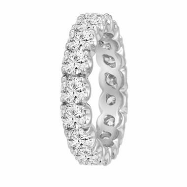 3.60 Carat Eternity Diamond Wedding Band 14K White Gold Handmade Certified