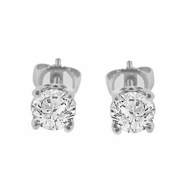 0.78 CARAT GSI2 CERTIFIED DIAMOND STUD EARRINGS 14K WHITE GOLD HAND MADE